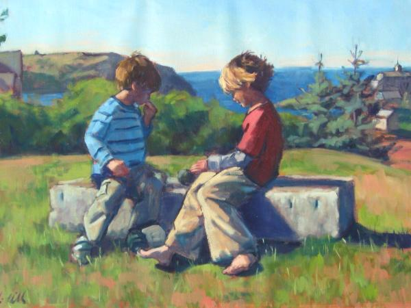 "Monhegan Kids   24x36"" oil"