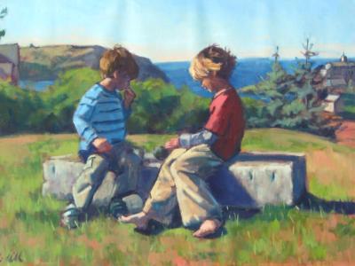 """Monhegan Kids   24x36"""" oil"""