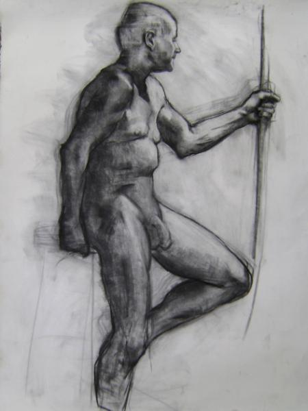 "Man with Pole 30x48"" charcoal"