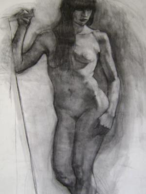 Standing Female 30x48 charcoal