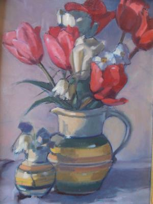 "Red Tulips 12x16"" oil"