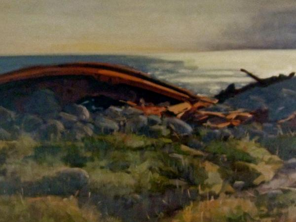 """Shipwreck at Sunset 18x36"""" oil  sold"""