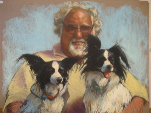 "Josh with Izzy and Ollie 18x24"" pastel"