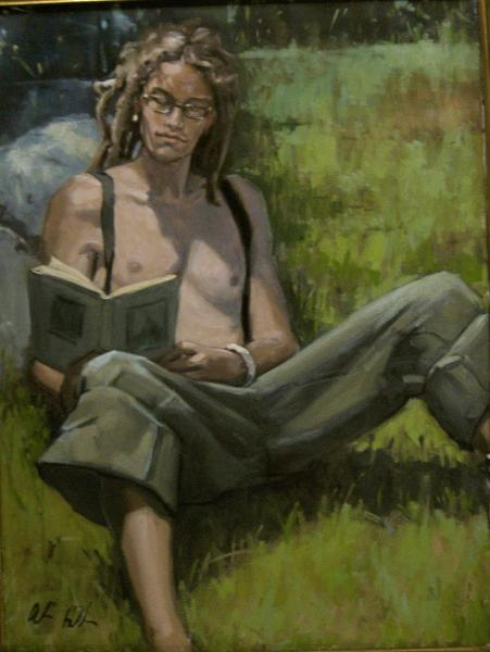 "Reading The Prophet  30""x40""  oil"