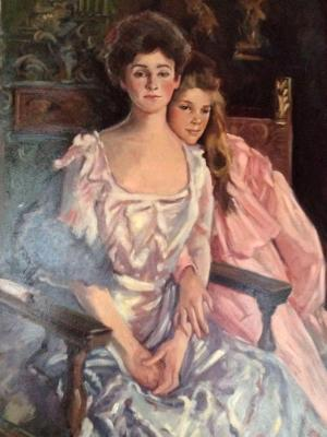 "Sargent Copy ""Mrs. Fiske and he Daughter, Racheal"" 32x60"""