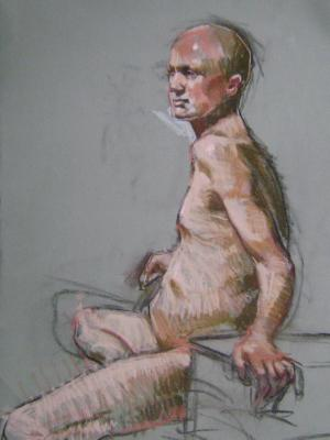 Seated Man 18x24 pastel