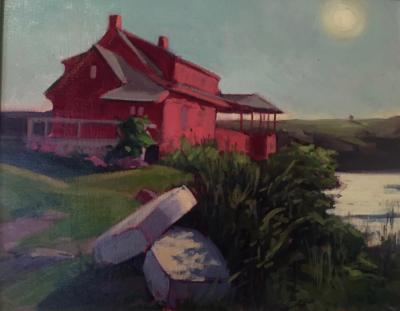"""Red House at Dusk oil 16x20"""""""