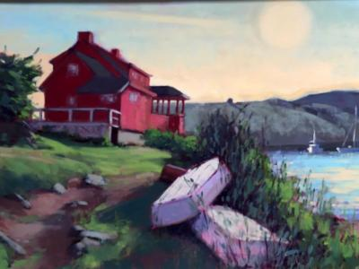 """Red House at Dusk 18x24"""" oil"""