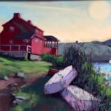 "Red House at Dusk 18x24"" oil"