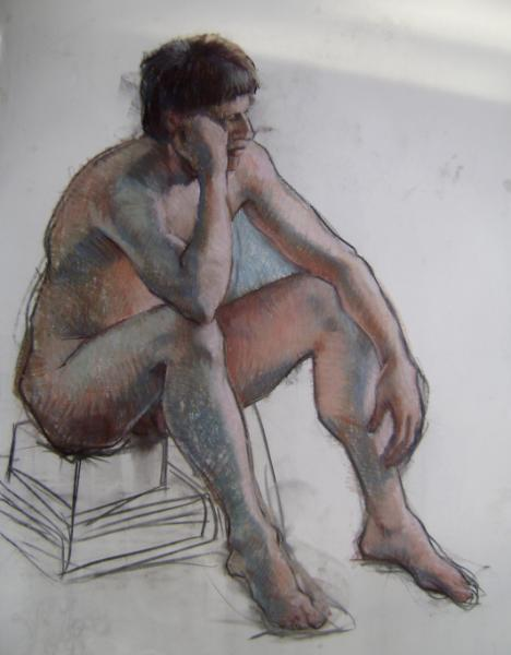 "Seated male 30x40"" pastel"
