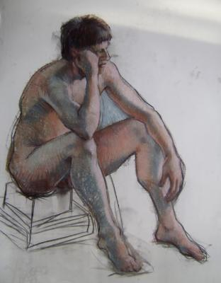 """Seated male 30x40"""" pastel"""