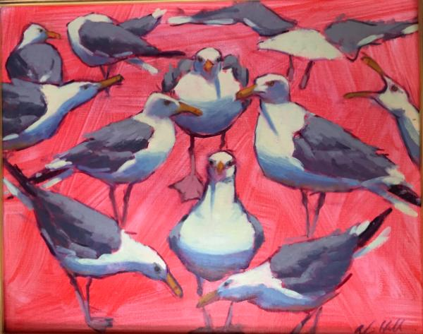 """Gulls on Red 16x20"""" oil sold"""