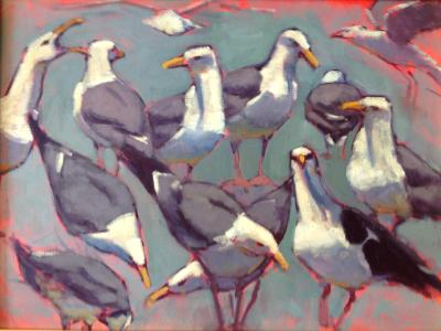 """Bluegreen Gulls 18x24"""" oil sold"""