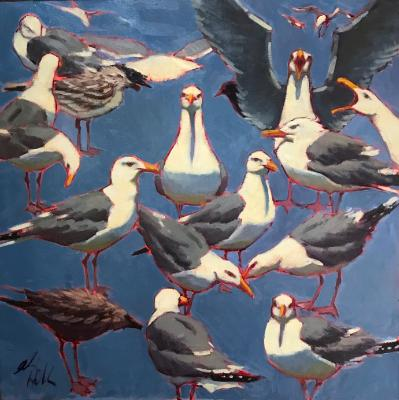 """Big Blue Gulls 30x30"""" oil"""