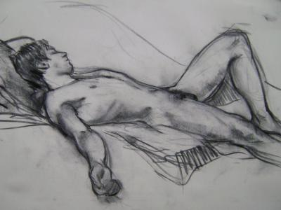 "Resting Male 18x24"" Charcoal"