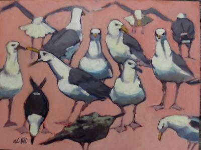 "Pink Gulls 18x24"" oil  sold"