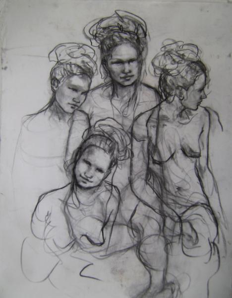 """Female Study 24x30"""" charcoal"""