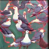 """Sea Green Gulls 24x24"""" oil sold"""