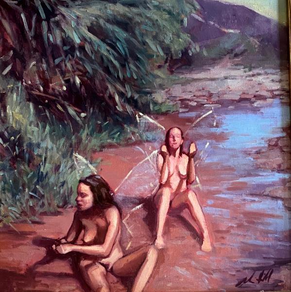 """Bathing Fairies 20x20"""" oil"""