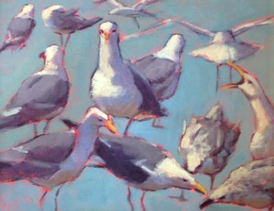 "Blue Green Gulls 16x20"" oil sold"