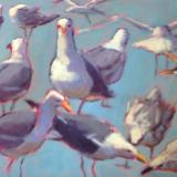 "Blue Green Gulls 16x20"" oil sold"