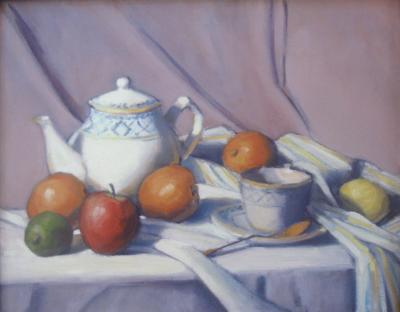 "Tea with Fruit  16""x20""   oil  sld"