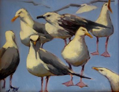 "Blue Gulls 16x20""  oil sold"