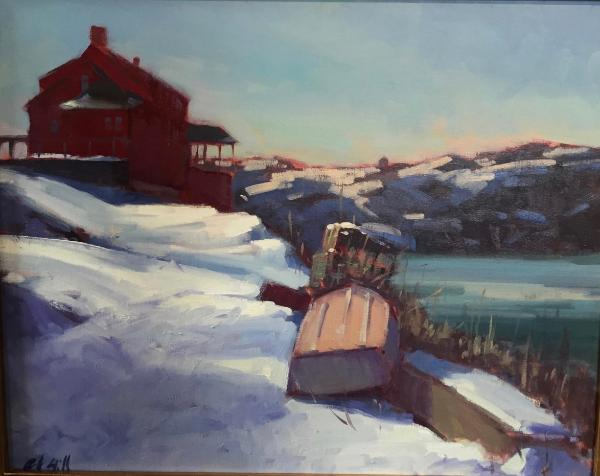 """Red House in Winter 16x20"""" oil"""