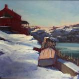 "Red House in Winter 16x20"" oil"