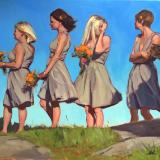 "Bridesmaids on Manana 24x30"" oil"