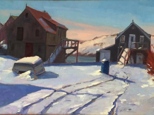 "The Blue Barrel after Storm 20x30"" oil"