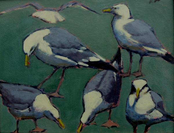 "Gulls in Green 14x18"" oil  sold"