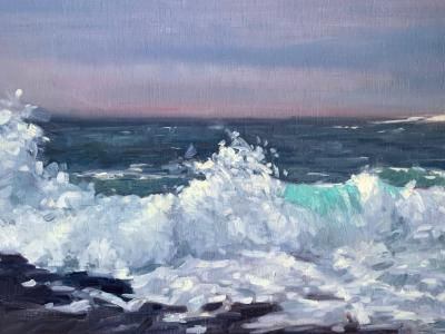 "Approaching Storm Lobster Cove 12x24"" oil"