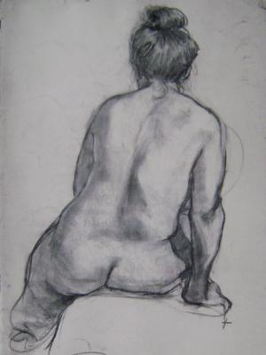 Seated Woman 24x36 charcoal