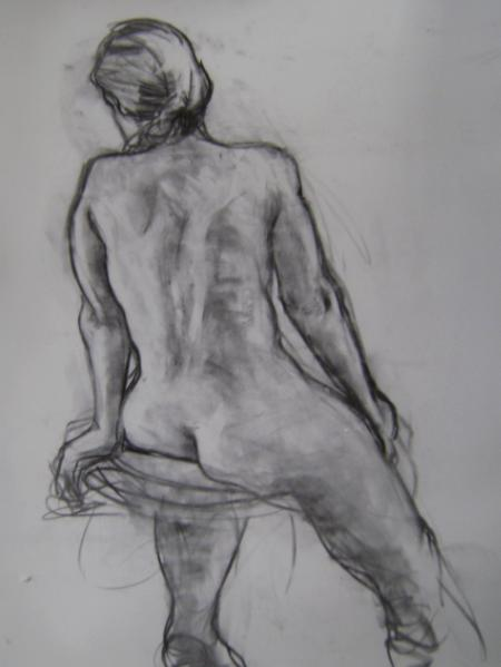 """Seated Woman 24x36"""" charcoal"""