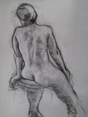 "Seated Woman 24x36"" charcoal"