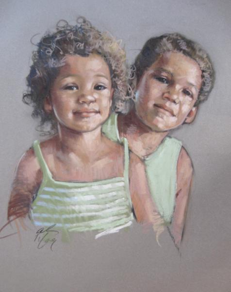 "Brother and Sister 18x24"" pastel"