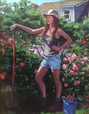 """Gardener 24x36"""" oil"""