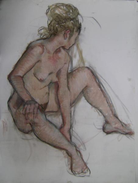 """Seated Woman 30x40"""" pastel"""