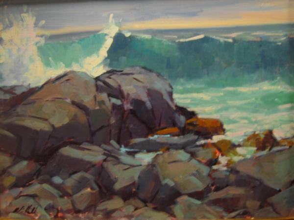 """Rocks and Surf 16x20"""" oil"""