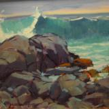 "Rocks and Surf 16x20"" oil"