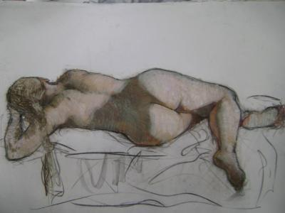 "Reclining Nude  24x36"" pastel"