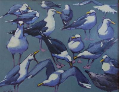 """Sea Green Gulls 24x30"""" oil sold"""