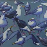 "Sea Green Gulls 24x30"" oil sold"