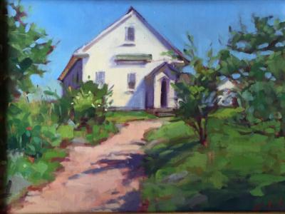 "Monhegan Schoolhouse 12x16"" oil sold"