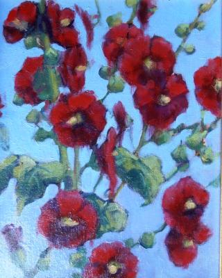 "Susan's Hollyhocks 11x14"" oil  sold"