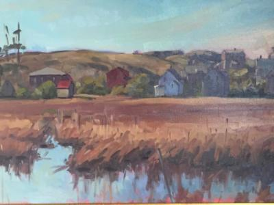 "Early April Across the Marsh 18x36"" oil"