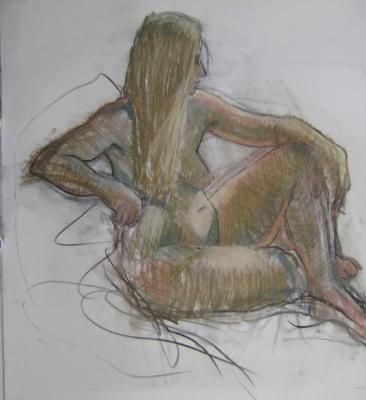 "Seated Nude 30x30"" pastel"