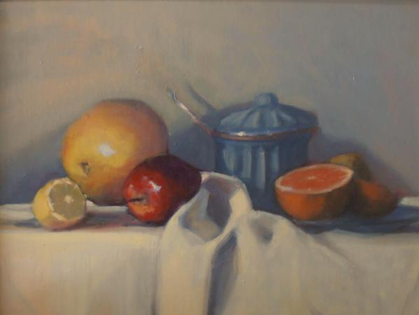 "Still life with Sugar Bowl 12x16"" oil"