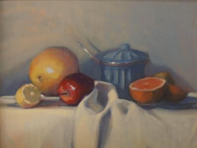 "Still life with Sugar Bowl 12x16"" oil"